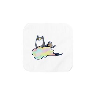 五色の雲と二匹の猫 Towel Handkerchief
