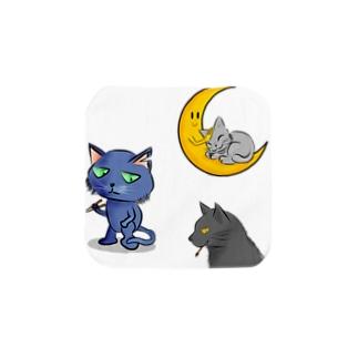 箸猫、筆猫、おやすみ猫 Towel handkerchiefs