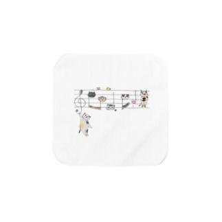 五線譜ネコのミニタオル Towel handkerchiefs