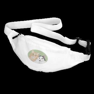 kinako-japanの猫社長さん 猫専務さん 緑 Belt Bag