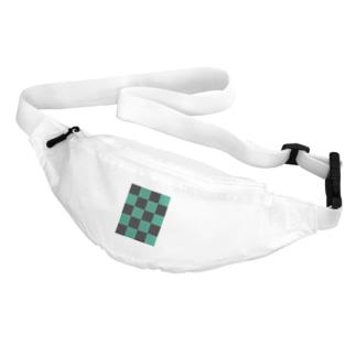黒緑 流行 升目 Belt Bag