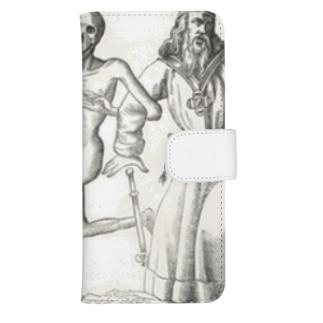 ホルバインの死の舞踏と聖書の木版画 ウォレットフォンケース