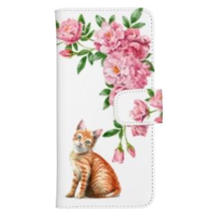 ピンクのバラと茶トラ子猫 ウォレットフォンケース