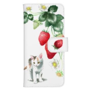 いちごと白三毛子猫 ウォレットフォンケース