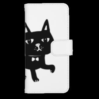 オクマーSUZURIショップの水玉しっぽの黒猫ちゃん ウォレットフォンケース