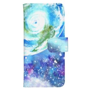 地球と宇宙のスマートフォンケース ウォレットフォンケース