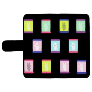 うさ標本(黒) ウォレットフォンケース