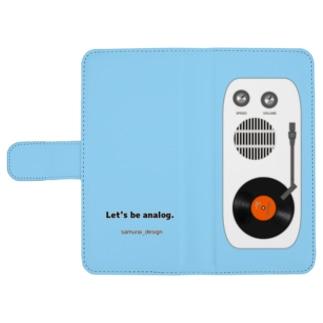 アナログレコード×ライトブルー ウォレットフォンケース