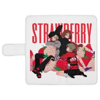strawberry ウォレットフォンケース
