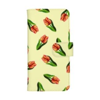 Flower series -Red tulip- cream ウォレットフォンケース ウォレットフォンケース