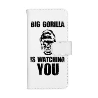 BIG GORILLA IS WATCHING YOU(黒字) ウォレットフォンケース