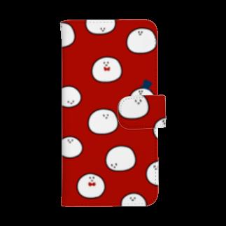 HIKI DE 物 SHOPのまるさん(赤色)ウォレットフォンケース