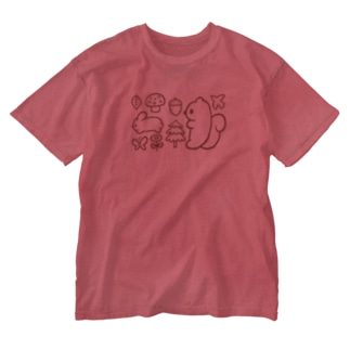 森のリス Washed T-shirts