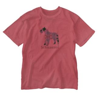 花 シュナウザー Washed T-shirts