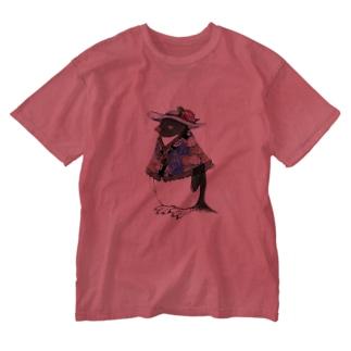 着物ぺんぎんーアデリーが立てば芍薬ー Washed T-shirts