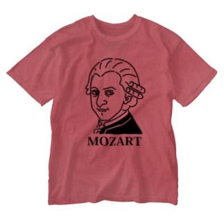 モーツアルト Mozart イラスト 音楽家 偉人アート モーツァルト ストリートファッション Washed T-shirts
