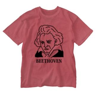 ベートーベン BEETHOVEN イラスト 音楽家 偉人アート ストリートファッション Washed T-shirts
