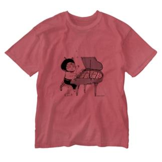 ピアノねこ Washed T-shirts