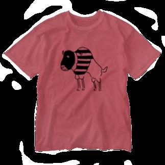 Aliviostaのスピードバッファロー 牛 動物イラスト Washed T-shirts
