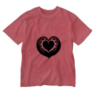 【ラテアート】ブラックハートインハート Washed T-shirts