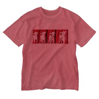 人面子やぎたち Washed T-shirts
