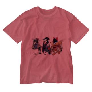 立てば芍薬、座れば牡丹、歩く姿は百合の花-Pygoscelis Kimono Penguins- Washed T-shirts