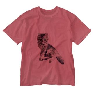 美脚にゃんこ Washed T-shirts