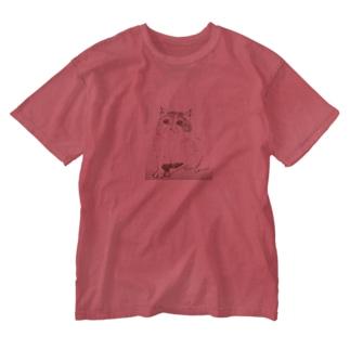 肩のりたまこ Washed T-shirts