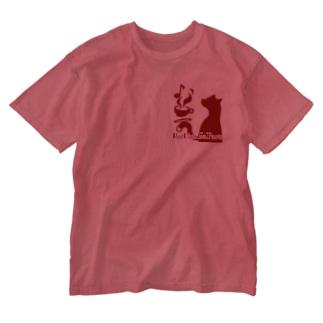 赤猫茶会ロゴ Washed T-Shirt