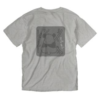 ぱんだお食事中 Washed T-shirts