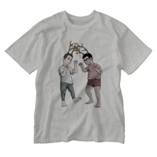 絡まる角男 Washed T-shirts