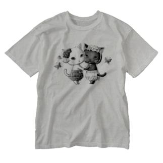 ねこどろわーず Washed T-shirts