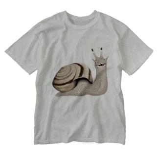 カタツムリ Washed T-shirts