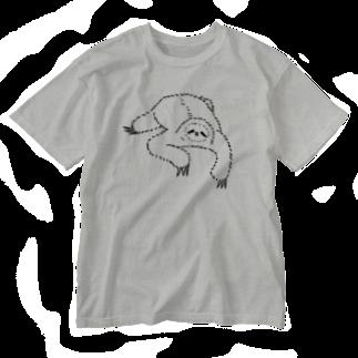 キューカンバー・ガールのsloth なまけもの(w/b) Washed T-shirts