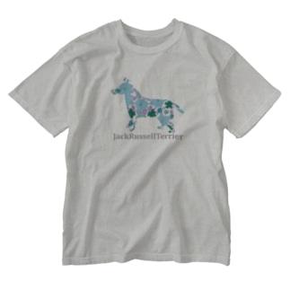 花 ジャックラッセル Washed T-shirts