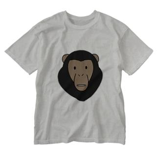 チンパンジー Washed T-shirts