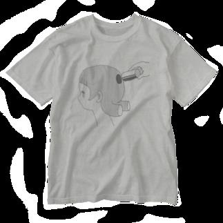 内山ユニコの抜けてた(グレー) Washed T-shirts