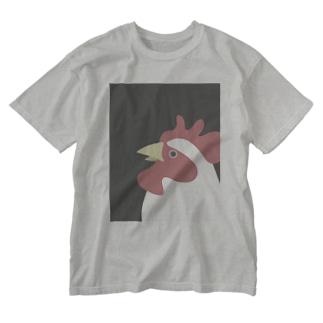 やや上を向くにわとり Washed T-shirts