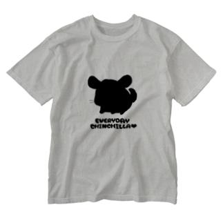 毎日ちんちらさん(黒色) Washed T-shirts