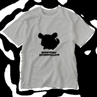しっぽくらぶの毎日ちんちらさん(黒色) Washed T-shirts
