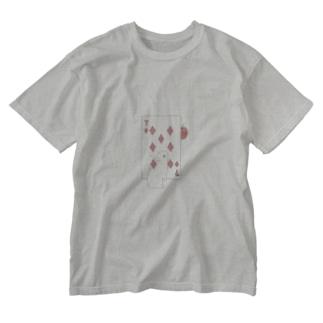 トランプのうさぎさん(ダイヤ) Washed T-Shirt