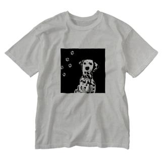 BLACK & WHITE DOG Washed T-shirts
