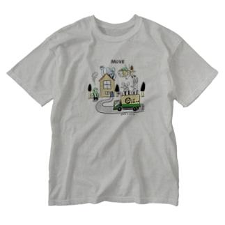 STUDIO KIKUCHIのどうぶつーズ引っ越しセンタ Washed T-shirts