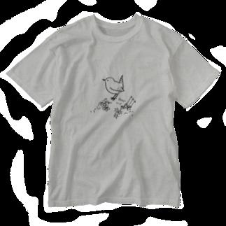 でこぱち商店の野鳥 ミソサザイ Washed T-shirts
