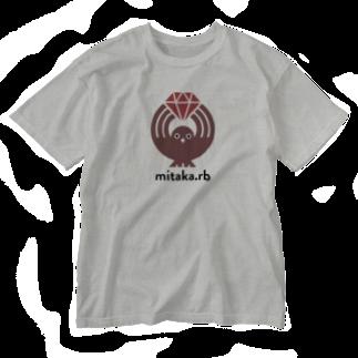 (\( ⁰⊖⁰)/) esaのmitaka.rb Washed T-shirts