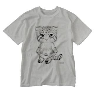 マヌルねこぱんつ Washed T-shirts