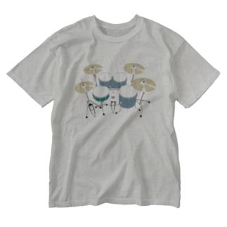 ドラムセット(ブルー) Washed T-shirts