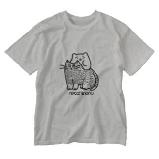 ねこにのる(モノ) Washed T-shirts