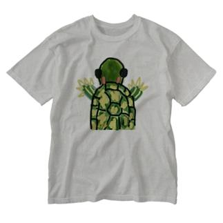 アカミミガメ Washed T-shirts