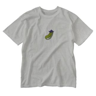右脳を鍛えるナスビ。 Washed T-shirts